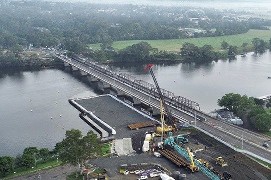 NSW's Nowra bridge underway with first segment launched