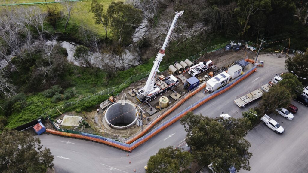 The Premier Cranes team works with the Bothar Boring & Tunnelling team to recover a mini-TBM.