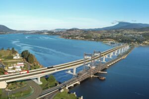 The reference design for the New Bridgewater Bridge includes a new two lane bridge and a second two lane bridge built on the alignment of the existing bridge.